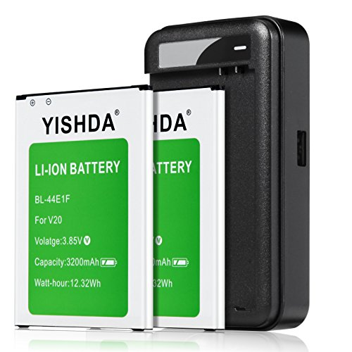 YISHDA LG V20 Battery, 2x3200mAh Replacement LG BL-44E1F Battery with LG V20 Battery Charger for LG V20 H910 H918 LS997 US996 VS995 | LG V20 Batteries Kit [18 Month Warranty]