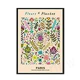 Fleurs Et Plantes París ilustración cartel impresión nórdico abstracto flor pintura Mural familia sin marco lienzo pintura A 60x80cm