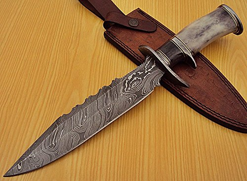 REG-1322 Handmade Damascus Steel 14.50 Inches Bowie Knife (Color/case/shape may vary slightly)