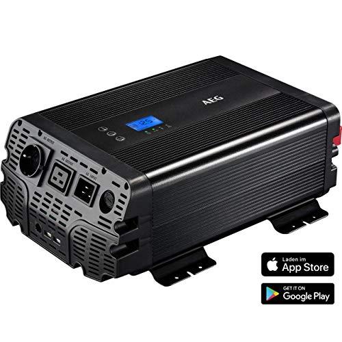 AEG Automotive 10062 Conversor de tensión sinusoidal W, 12 V a 230 V, aplicación, conexión de prioridad y Control del Ventilador, 1500 Watt