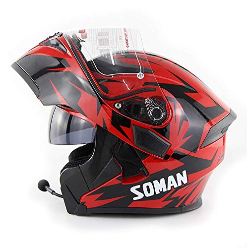 AYCX Motorrad-Bluetooth-Helm D.O.T Zertifizierung-Full Face Bluetooth Racing Motorcycle Helm Cromwell Helm Jet Double Mirror HelmetBlack Red,C,M