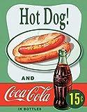 Desperate Enterprises Coca-Cola Hot Dog Tin Sign, 12.5' W x 16' H