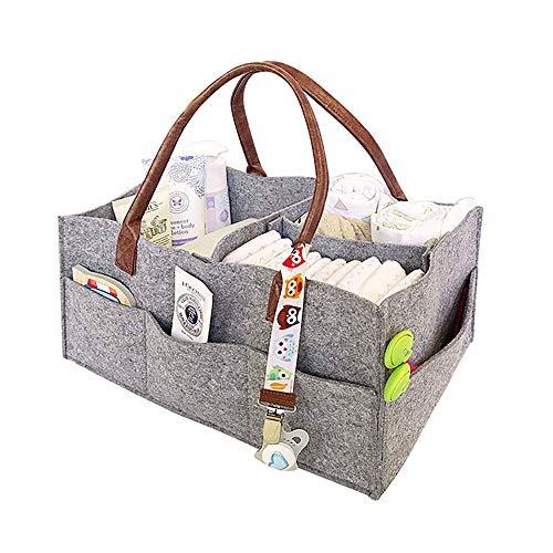 Organizador de pañales para bebé,cesta de fieltro para almacenamiento de pañales, cesta de almacenamiento de bebé, bolsa de pañales portátil ligeramente multifunción,Papel para toallitas húmedas, Canasta para juguetes, para Recién Nacido Coche Viaje(Gris)