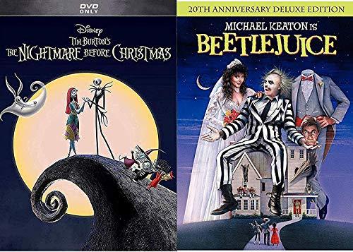 Tim Burton Beetlejuice Movie DVD & The Nightmare Before Christmas Weird Fantasy Action Bundle Fun set IT'S SHOWTIME!
