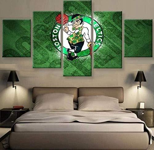5 piezas cuadro en lienzo Cuadro compuesto por 5 lienzos impresos en HD, utilizados para decoración del hogar y carteles Baloncesto NBA Abstract Engineer Boston Celtics Logo 2 (150x80cm sin marco)