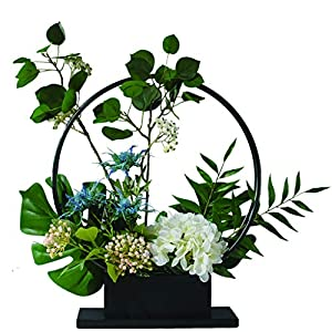 NYKK Decoration Simple and Creative Hydrangea Design Artificial Flower Bonsai for Living Room Hotel Bedroom Display, Iron Frame Artificial Flower Bonsai Table Centrepieces