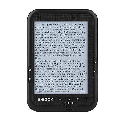 Garsent Lettore E-Book, 6 Pollici 800x600 Risoluzione 300 DPI Lettore E-Book Portatile con Supporto di Protezione Blu 29 Lingue.(16G Nero)