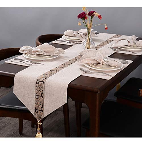 Chinese Zen Tafel Runner Katoen Linnen Nonslip Tafelkleed met Afneembare Kwastje Geschikt voor Bruiloft Festival Party & Hotel Bed Staart Decoratie