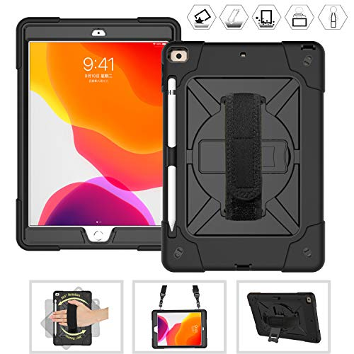CWNOTBHY iPad 7th Generation Case 10.2 Inch 2019 / ipad 10.2 Case, Heavy Duty Shockproof Protective Case with 360 Rotate Kickstand/Hand Strap/Shoulder Strap (Black/Black)
