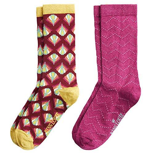 King Louie Damen Socken 2 Paare im Set Namaste (35-38, Cherise Red)