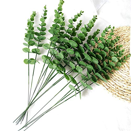 WanXingY 10 Piece Simulation Green Plants Artificial Fake Flower Eucalyptus Leaf Branch Decoration Garland Wedding Shooting Prop Home (Color : Green)