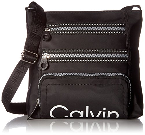 Calvin Klein womens Calvin Kelin Athleisure Nylon Organizational Crossbody, black, One Size