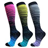 Compression Socks (20-30mmHg) For Women&Men - Best for Running,Travel,Cycling,Pregnant (Small/Medium, A1 -Multicolour 5)