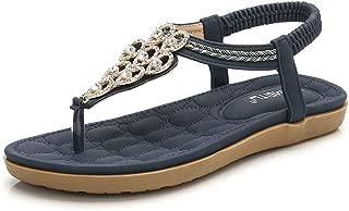 Women Summer Flat Sandals Shoes,Bohemian T Strap Thong Shoes Flip Flop Shoes