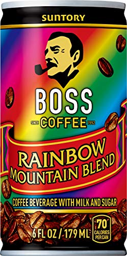 BOSS Coffee by Suntory – Rainbow Mountain Blend Japanese Flash Brew Coffee, 6oz 12 Pack, Imported from Japan, Espresso Doubleshot, Ready to Drink, Contains Milk, No Gluten