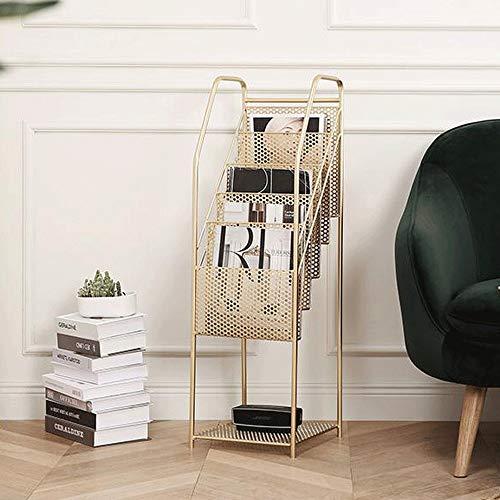 Broschürenständer 5 Automagazin Kapazität Zeitungsständer Bodenrost Und Leicht Zu Reinigen Und Warten (Color : Gold, Size : 96cm)