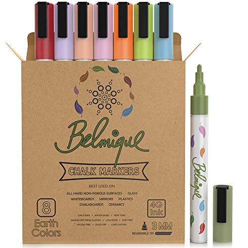 Belmique pastelkrijtstiften in 8 kleuren – fijne 3 mm verwisselbare ronde en schuine wigpunt. Droog uitwisbare krijtstiften. Perfect voor ramen en spiegels, whiteboards, reclameborden of niet-poreuze krijtborden.