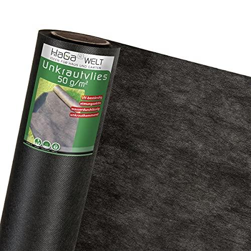 HaGa® Tessuto non tessuto da giardino, 2 m x 15 m, 50 g/m², per pacciamatura o ortaggi, tessuto non tessuto impermeabile per piante, protezione dalle erbacce in giardino