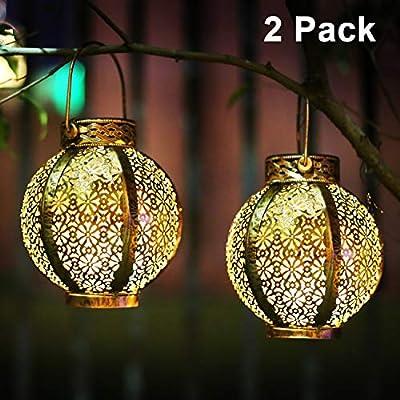 Hanging Solar Lanterns Retro Solar Lights Outdoor with Handle, Outdoor Solar Garden Lights Metal Waterproof Decorative for Backyard, Porch, Tree, Fence, Patio, Pathway, Brown, 2 Pack