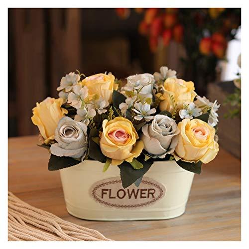 JISHIYU - Q - Planta artificial de Navidad en florero, flores falsas de seda, flores artificiales, flores decorativas de imitación para el hogar, jardín, fiesta, boda, decoración de mesa