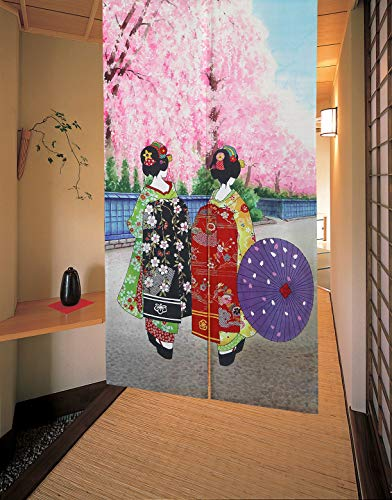 LIGICKY Japanische Gardinen Noren Lang Vorhänge Türvorhang Tapisseri für die Heimtextilien Raumteiler (Kyoto Geisha Girls in Kimonos und Kirschblüte, 85 x 150 cm)