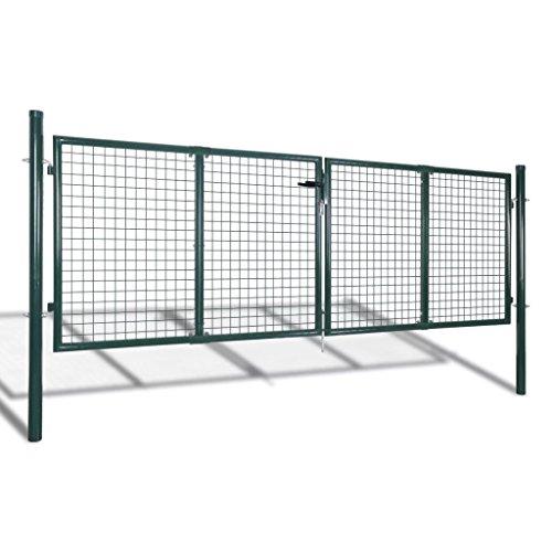 Festnight Metall Gartentor 306 x 125 cm mit 3 Schlüssel | Gartentür Zauntür Hoftor Gartenpforte | Gartenzaun Tür aus verzinktem Stahl Grün