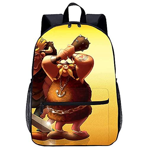Mochila Infantil 3D Hombre Mochilas Asterix y los vikingos Adecuado para: estudiantes de primaria y secundaria, la mejor opción para viajes al aire libre Tamaño: 45x30x15 cm / 17 pulgadas mochila i