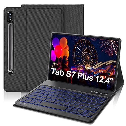IVEOPPE Funda con Teclado para Samsung Galaxy Tab S7 Plus/S7 FE 12.4'', Teclado Bluetooth 7 Colores Retroiluminada Español Ñ con Cubierta Tipo Folio de PU para SM-T970 / T975 / T976 (Gris)