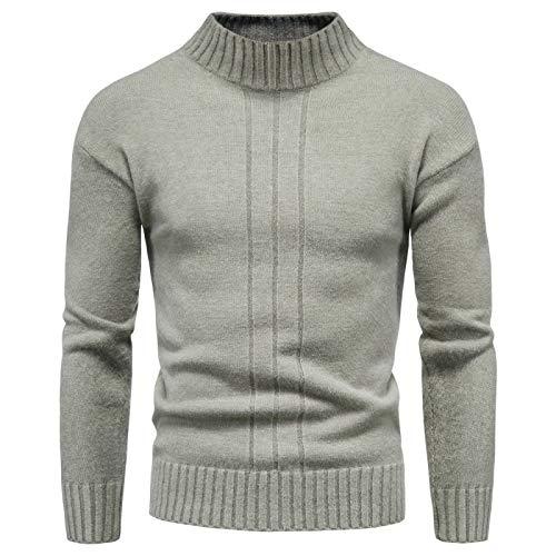 Suéter de Medio Cuello Alto de Color sólido para Hombre Moda Simple Clásico Versátil Cómodo Jersey de Punto de Ajuste Delgado M