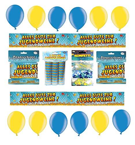 Feste Feiern Deko Set Jugendweihe 16 Teile Absperrband Luftballons Tischkonfetti Luftschlangen Alles Gute Zur Jugendfeier Endlich Erwachsen Party Deko