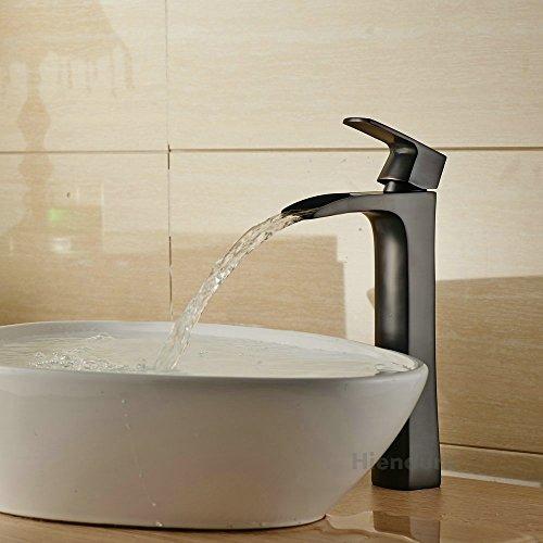 Hiendure® Miscelatore bagno alto bronzo lucidato olio leva Un foro girevole Kitchen sink