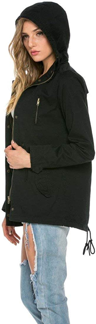 SOHO GLAMWomens Hooded ParkaPuffer Jacket Warm Winter Coat Faux Fur TrimLightweight Drawstring Windproof Long Sleeve Removable Hood Black