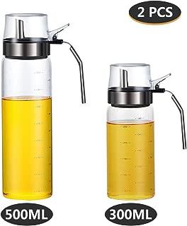 Olive Oil Dispenser Bottle - 2 Pcs Oil and Vinegar Dispenser 17 Oz & 10 Oz Salad Dressing Cruet Glass Bottle,Lead-Free Glass Oil Dispenser for Kitchen