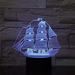 Sail Ship | 3D Optical Illusion Hologram Night Lamp | Led Lampeez for Dad/Son/Father/Brother/Grandpa/Husband | Premium Memorable Idea Present For Him | Remote / Longer Cord / Extra USB Adapter