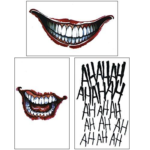 COKOHAPPY 3 Temporales Tatuaje Cara and para Disfraz Cosplay - The Joker Set