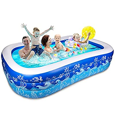 """Joyjoz Inflatable Pool 93"""" X 54"""" X 22"""", Swimming Pools for Backyard, Blow up Pool for Kids, Adults, Thick Full-Sized Family Kids Pool Above Ground, Large Adult Swimming Pools, Rectangular Lounge Pool"""