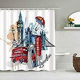 TONKSHA Duschvorhang,Bus Aquarell London City Vintage United Wahrzeichen Texturen Skizze Hauptstadt England,personalisierte Deko Badezimmer Vorhang,mit Haken,180 * 180