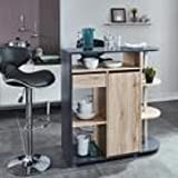 ANOUK Table bar 2 personnes style contemporain décor chene et gris - l 100 x L 40 cm