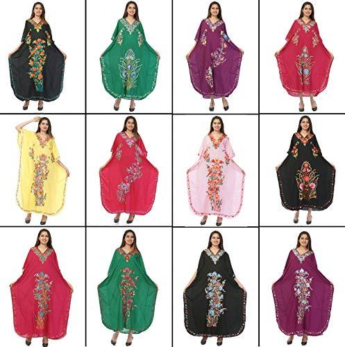 Odishabazaar Womens Plus Size Boho Hippie Vestido estampado floral Kaftan Dori On Waist (multi-7)