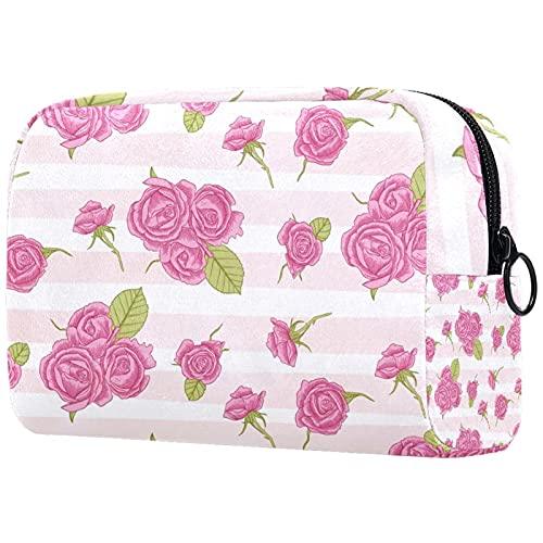 Trousse de Toilette à CrayonsSacs de Maquillage cosmétiques de Voyage Portables pour Organiser des pinceaux de Maquillage et des Crayons pour Femme Motif de Roses Roses à Rayures