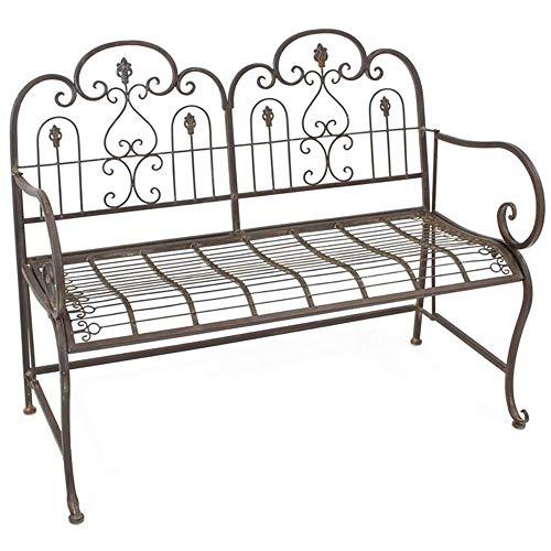 Haushalt Outdoor Gusseisen Doppelstuhl Bank, Retro Geschnitzte dunkelbraune Garten Lounge Chair, verblasste Eisenbank mit Rückenlehne und Armlehnen