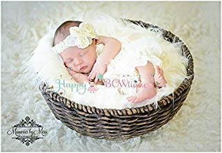 2pcs Newborn Vintage Ivory Petti Lace Romper Set, Baby Girl Ivory Romper Set