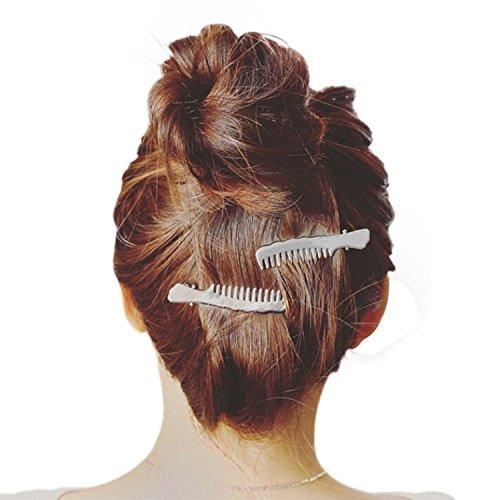 Bloodfin 1 paire de pinces à cheveux,Chic Élégant Clip de Cheveux Mini Compact en métal Style Romantique Adorable barrettes accessoires Pour Filles Ados Femmes (Argenté)