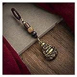 Goqiwep Portachiavi Rame Puro Buddha Maitreya Statua Portachiavi Ciondolo Retro in Ottone Massiccio Portachiavi impiccagioni Ornamenti Fatti a Mano Corda Tessuto Portachiavi (Color : Buddha Lanyard)