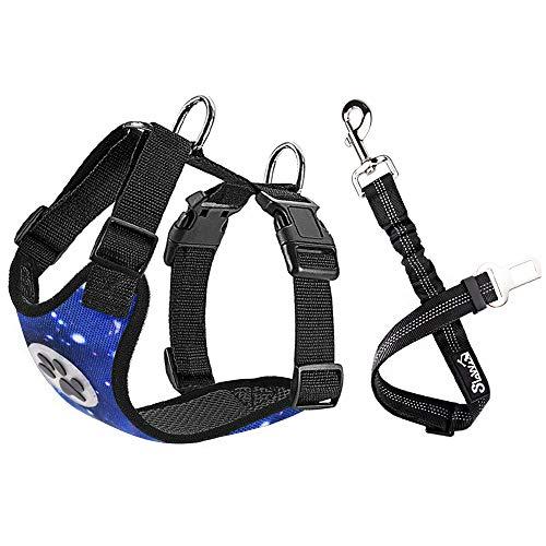 SlowTon Arnés de Seguridad para Perro, cinturón de Seguridad, arnes Perro,Correa elástica Ajustable y Forro de Tela Transpirable en el vehículo (M, Azul Estrellado)