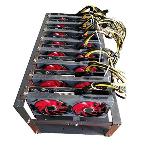FreshWater Marco de minería, Estante de tablero de minería, Minería de Aire Abierto Caja de plataforma de marco de hasta 6-8 GPU SECC Soporte de placa base Minería Marco para Crypto Moneda