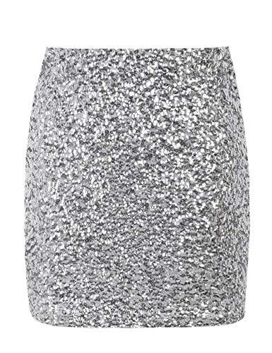 kayamiya Damen Minirock mit Pailletten Sparkle Stretchy Bodycon Kurze Club-Bleistiftröcke M/36-38 Silber