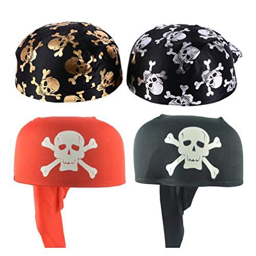 VALICLUD 4 Stück Schweißableitende Mütze Hüte Schädel Piratenkappe Kühlhelm Liner Cosplay Kostüm Liefert Piraten Party Liefert
