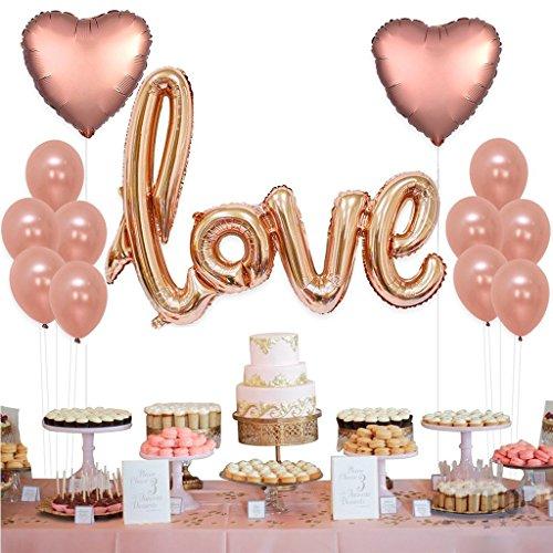 Tumao 13 Stück Rose Gold Love Luftballons Folienballon Herz Ballon Hochzeit Latex Luftballons für Geburtstag, Brautdusche, Party Dekoration, Valentinstag, Weihnachten.
