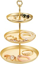 3 Tier Jewelry Dish Tray Organizer Rack, Round Gold-Plated Metal Earring Holder Tower Stand Bracelet, Necklace, Ring Jewelry Organizer Display